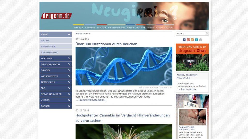 drugcom.de: Onlineplattform für die Suchtprävention