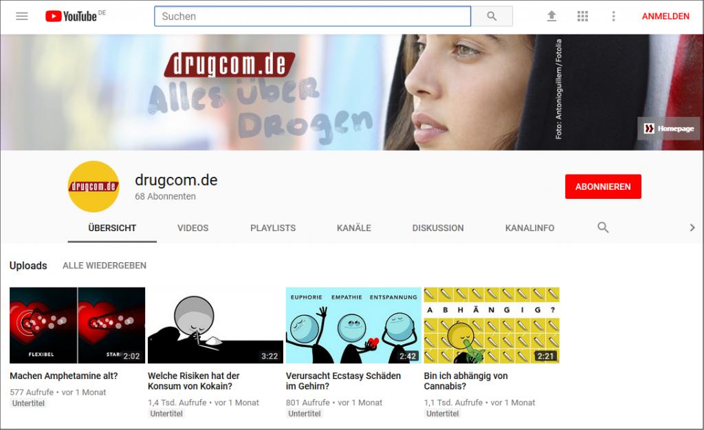 Neuer YouTube-Kanal für drugcom.de