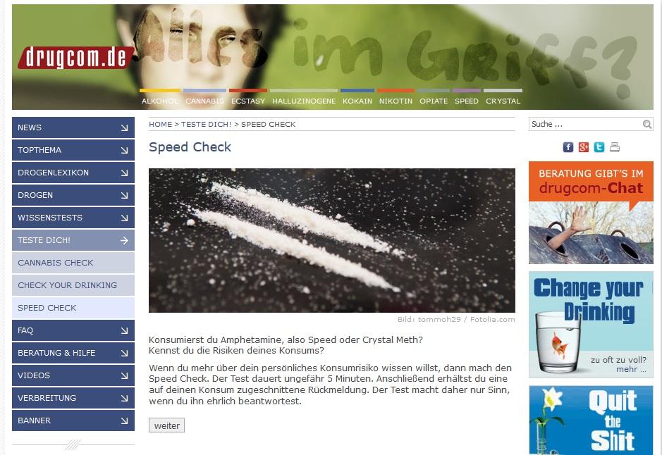 Speed Check: Test erstellt Risikoprofil bei Amphetaminkonsum