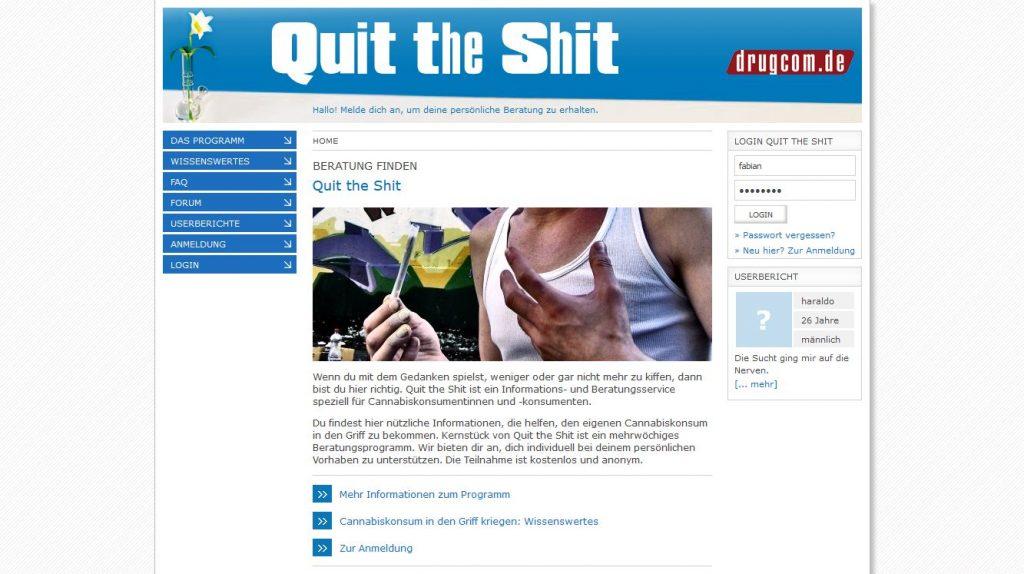 Quit the Shit: Onlineberatung von Cannabiskonsumierenden